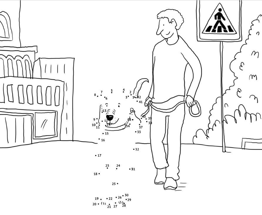 Malen-von-Punkt-zu-Punkt-Hundstage