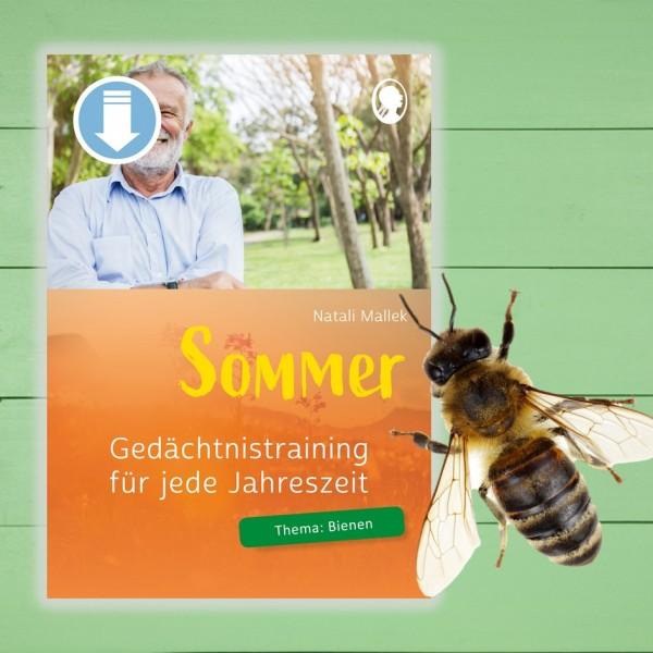 Gedächtnistraining Senioren. Sommer. Tiere. Bienen.