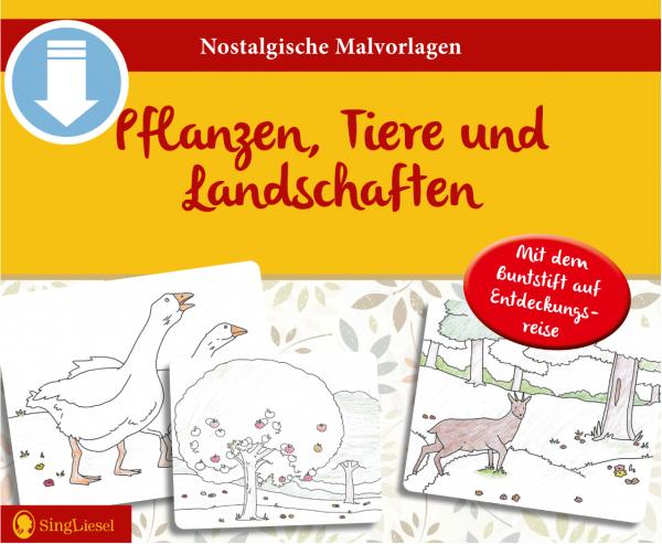 Malvorlagen für Senioren - Pflanzen, Tiere und Landschaften (Sofort-Download als PDF)